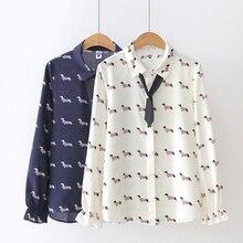 31a1457ba28f Cute Dachshund Print Women Blouse Chiffon Shirt Preppy Style Dog Print  Turn-down Collar Bowtie