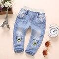 1-4 T Roupa Do Bebê Das Meninas Dos Meninos Calças Jeans Calças Jeans Macio Kawaii Urso Calças Roupa Dos Miúdos Da Criança Bebe calças de brim