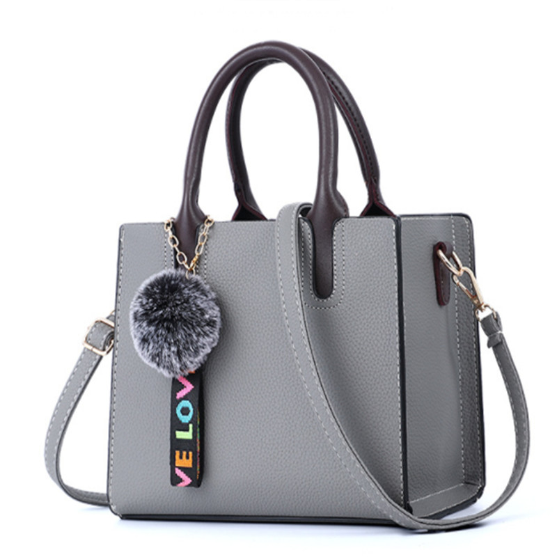 Faux Leather Totes Bags for Women with Shoulder Strap & Fuzzy Ball