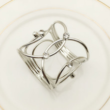 12PCS hotel napkin buckle ring mouth European metal diamond towel sterling silver /