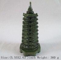 14.1 cm * Opracowanie Chiński Klasyczny ręcznie rzeźbione Tajwan jade Wenchang wieża statua