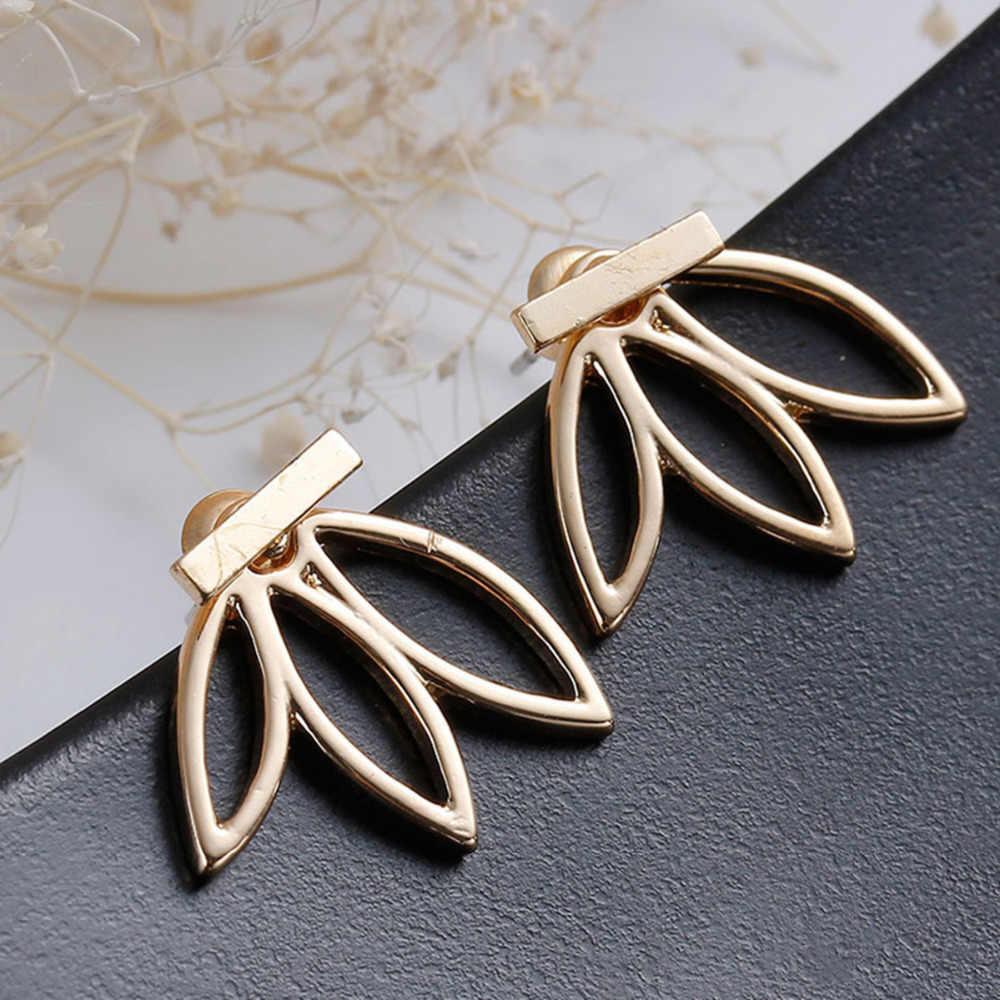 Новые модные ювелирные изделия простой: золото, серебро, массивные полые Lotus очаровательные Двойные серьги-гвоздики букле d oreille Винтажные серьги
