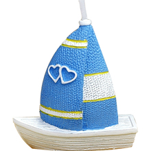 Smokeless scented creative blue Love Sailing Boat cake decorated Candles for wedding gift Children baby Birthday Party candle