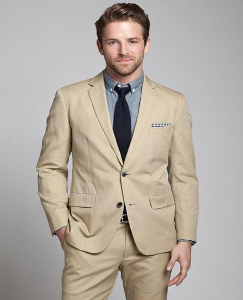 2018 Fashion Wool Blend Men Suits Beige Mens Wedding Suits Tuxedos ...