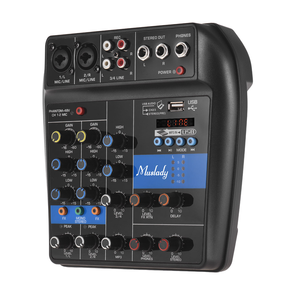 Muslady S-1 Console de mixage BT 4 canaux mélangeur Audio numérique effets de réverbération intégrés + 48V alimentation fantôme 2 bandes EQ DC 5-12V