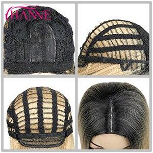 Image 5 - HANNE длинные волнистые синтетические парики Ombre светлый/серый/коричневый/розовый натуральный парик парики из высокотемпературного волокна для черных или белых женщин