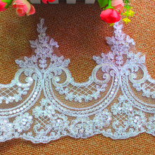 Embroidery fabric applique,lace chiffon flower applique for wedding dress white 24CM