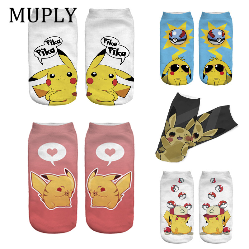 2019 New Arrival Kawaii Harajuku Pokemon Pikachu Socks 3D Printed Cartoon Women's Low Cut Ankle Socks Novelty Casual Socks Meias