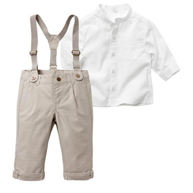 2016 Baby Boy gentleman suit white cotton casual shirt + overalls 2pcs long sleeve T-shirt boys pants kids clothes free shipping