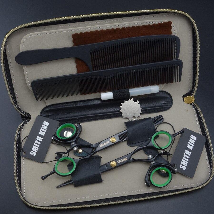 SMITH KING Professional Hairdressing scissors Rotating Ring Scissors 6 inch Cutting scissors + Thinning scissors 2 pieces set