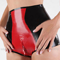 Sexy Women  Latex  Lingerie  Shorts Underwear High Waist Panties Fetish Costume with Crotch Zip LPW026