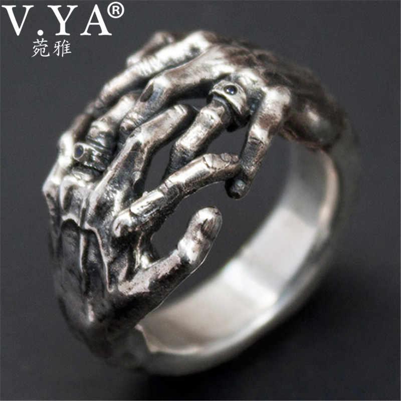 V. YA Cool anillos de mano con calavera plata tailandesa al aire libre para hombres 925 joyería de plata esterlina anillo masculino regalos de moda