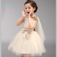 JaneyGao Flower Girl Dresses Elegant Champagne With Sequined Bow Girl Birthday Dinner Party Dress Princess Kids Formal Gown 2018
