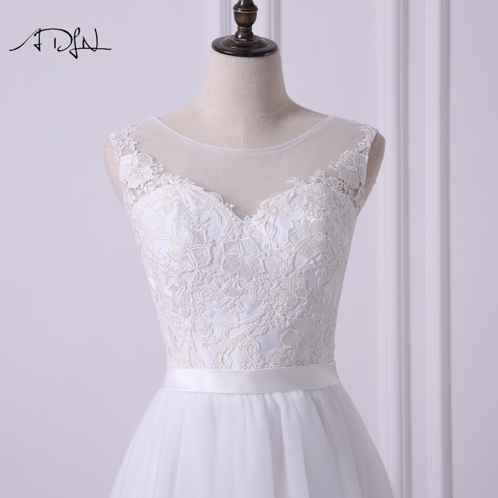 Elegant Sleeveless A-line Tulle Wedding Dress