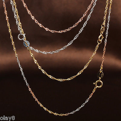Pure Au750 18K Multi Tone Gold Chain Women 1mm Singapore Link Necklace 18inch-in Necklaces from Jewelry & Accessories    1