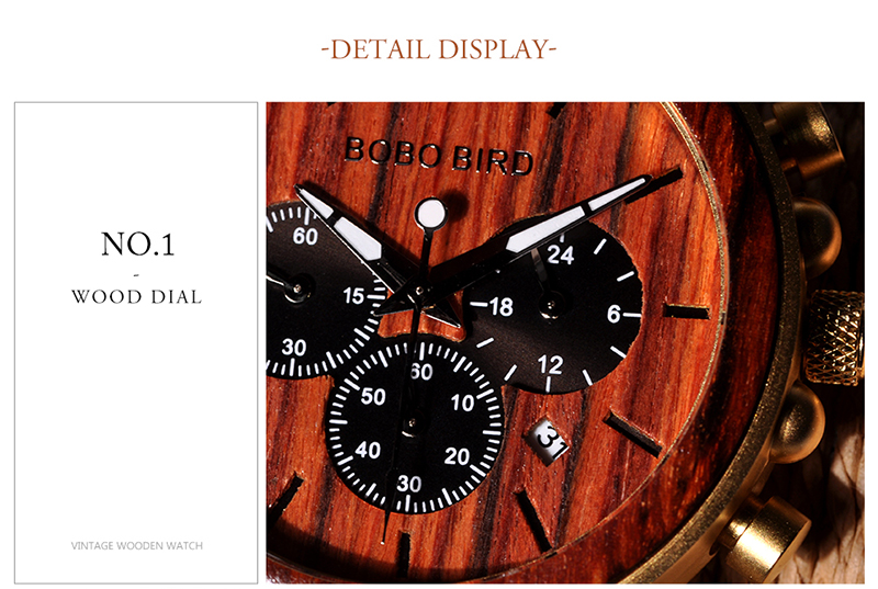 BOBO BIRD Business Luxury Brand Quality Chronograph Wood Metal Quartz Wristwatch Wooden Watch Men Relogio Masculino J-Q26 8