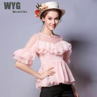 WYG Korea Style Women Blouses Shirts 2018 Spring Summer New Sheer Striped Ruffles Shirred Slim Red