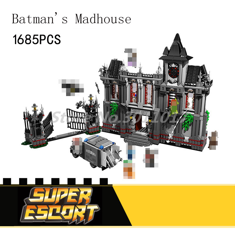 Stacking Blocks DC Batman Series Superheroes Figure Building Blocks Arkham Asylum Breakout Model Joker Movie Toys For Children new 1628pcs lepin 07055 genuine series batman movie arkham asylum building blocks bricks toys with 70912 puzzele gift for kids