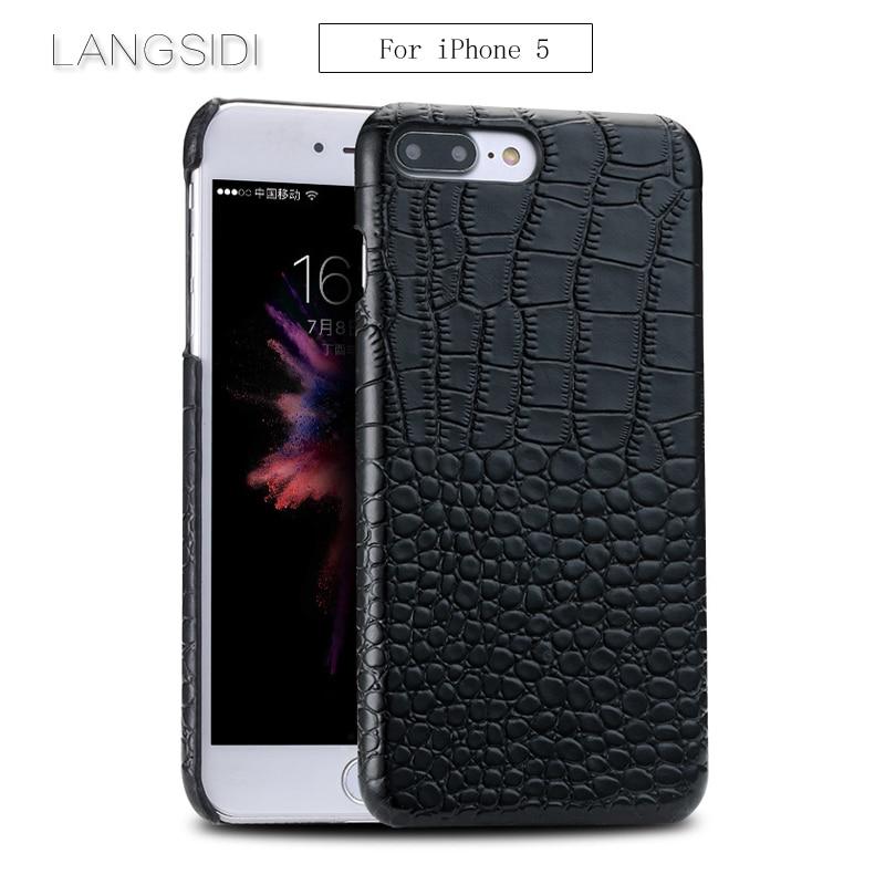 wangcangli For iPhone 5 case handmade Luxury genuine crocodile leather back cover Genuine Leather phone