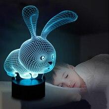Прекрасный 3D светильник в форме кролика, светодиодный светильник Atmoshpere, лампа с переключателем, лампа для детей, праздничные подарки