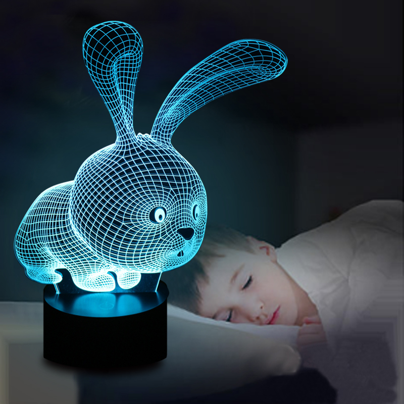 Lovely 3d Rabbit Shape Lamp Led Atmoshpere Light Lamp With