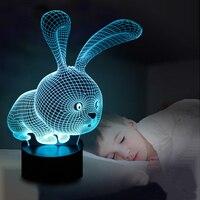 Piękny 3D Królik Kształt Lampy LED Lampa Lampy Światła z Przełącznikiem Botton Atmoshpere jak Dzieci
