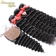 7A Brazilian Deep Wave Silk Base Closure 4 Bundles With Silk Closure Cheap Human Hair Tangle