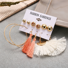 Bohopan 6Pairs/Set Fan-shaped Tassel Earrings For Women Simple Fashion Round Stud Set 2019 Female Elegant Gold