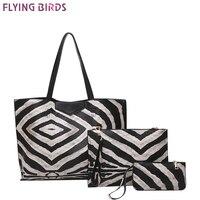 FLYING BIRDS Zebra Pattern Famous Brand Tote Women Handbag Composite Bag 3pcs Set Bolsas Women S