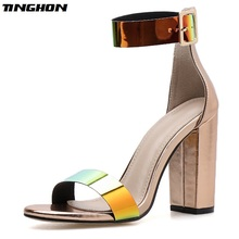 TINGHON  Summer Fashion High Heels Patent Leather Women Buckle Strap Sandals Peep Toe Shoes Ladies chunky heels 10.5CM Shoes цены онлайн