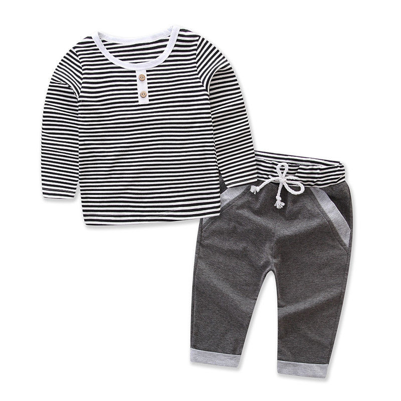 2017 New Brand 2pcs Toddler Infant Newborn Baby Boy T-shirt Long Sleeve Tops Pants Striped Outfits 2Pcs Set Casual Clothes 1-5T 2pcs children outfit clothes kids baby girl off shoulder cotton ruffled sleeve tops striped t shirt blue denim jeans sunsuit set