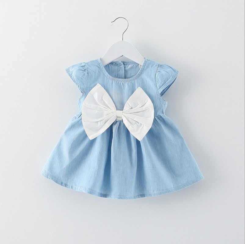 を 2019 新しい夏のビッグ弓かわいい幼児の女の子の服 1 年の誕生日パーティードレス O ネックブルー新生児王女服