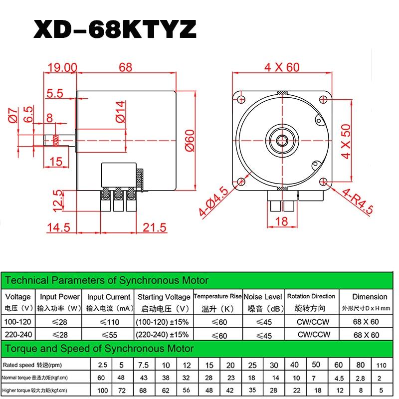 68 KTYZ AC motor 220 v 2,5 rpm-110 rpm motor micro langsam ...