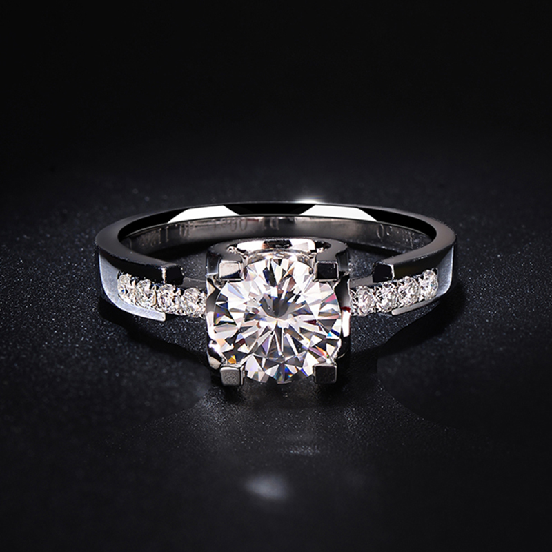 9K White Gold 1ct 2ct 3ct Moissanite Diamond Ring VVS1 Round Brilliant Cut Jewelry Wedding Party Engagement Anniversary Ring