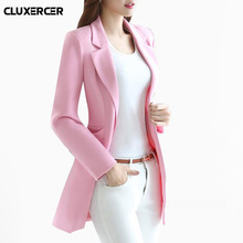 Plus Size Long blazer feminino 2018 Spring Autumn long sleev