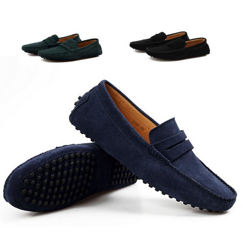 2014 Men Casual Suede Loafers, Spring Black Leather Driving Moccasins Gommino, Slip Velvet Loafers Shoes - Fashion_Man store