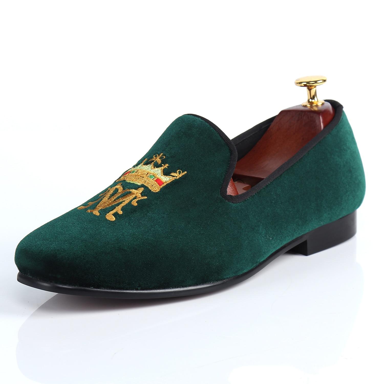 Harpelunde Designer Shoes Green Men Velvet Loafers ...