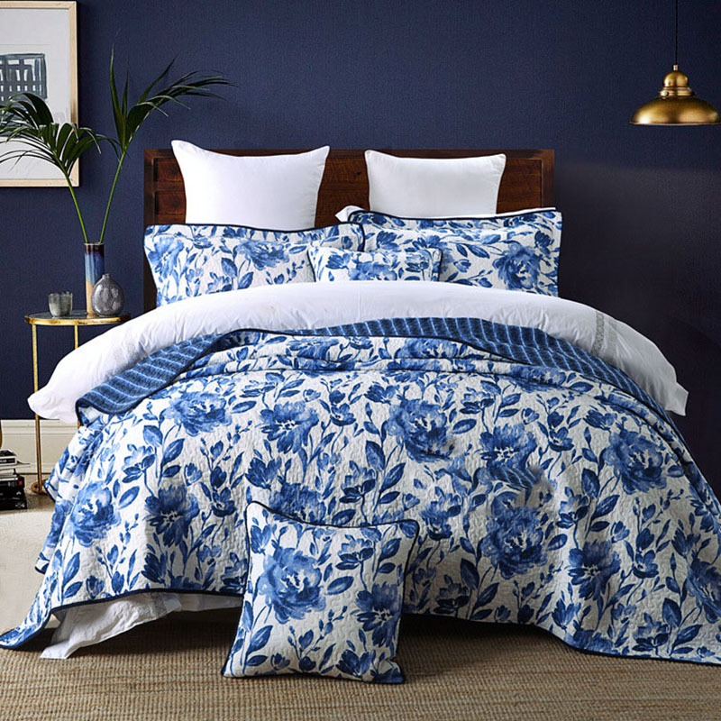 CHAUSUB Quilt Set 3PCS American Washed Cotton Quilts Bed Sheet Blue Printed Quilted Bedspread Bed Cover King Size Coverlet SetCHAUSUB Quilt Set 3PCS American Washed Cotton Quilts Bed Sheet Blue Printed Quilted Bedspread Bed Cover King Size Coverlet Set