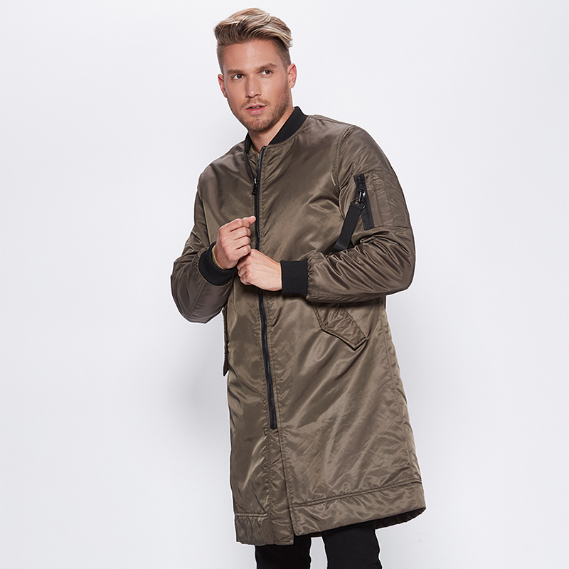 GLO-STORY Men 2018 New Long Parkas Mens High Street Wear Stand Color Windbreaker Winter Warm Padded Jacket Coats Tops MMA-6502
