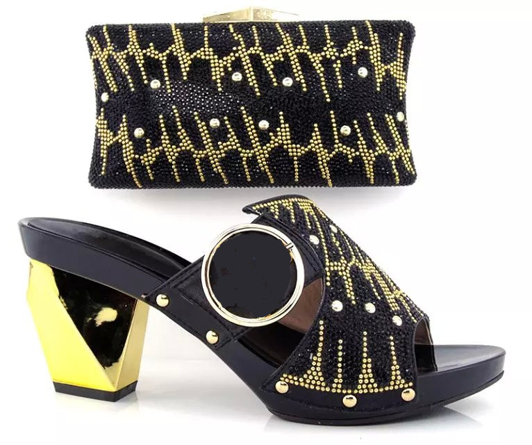 ФОТО Special Italy Design ladies Shoes And Bag Set BLACK HT3012 African High Quality Shoes And Matching Bags For Party/Wedding