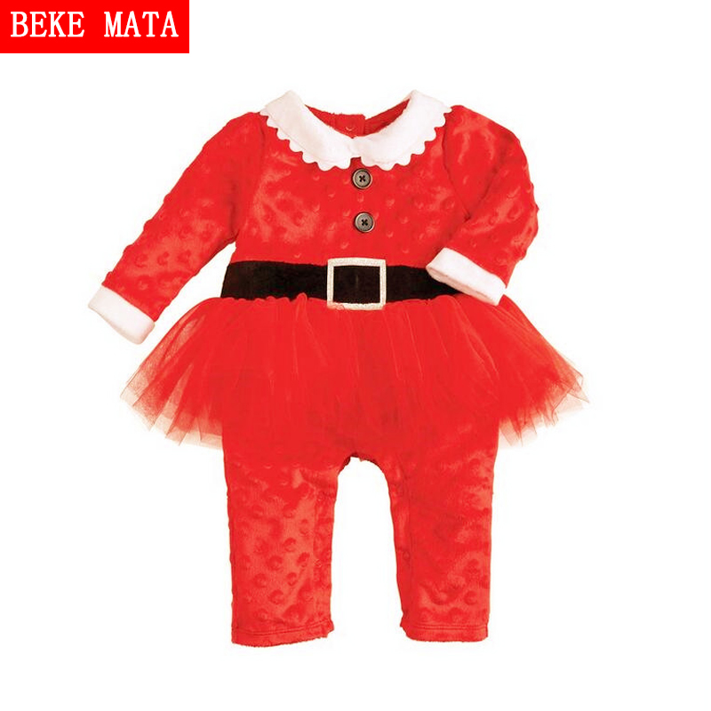 Christmas Baby Girl Rompers Jumpsuit Winter 2016 Cotton Baby Girl Clothes Dress Long Sleeve Baby Girl Overalls Toddler Clothing