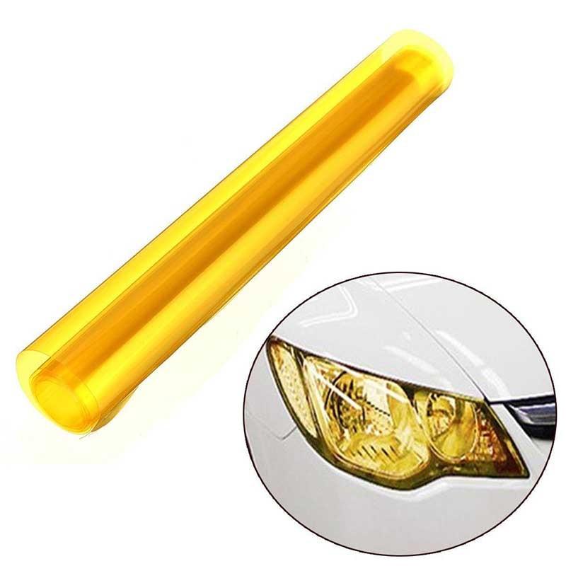 MAYITR 1шт 60 x 30 см желтый DIY автомобиля туман света виниловая пленка авто фар задний фонарь оттенок виниловая пленка лист дым стикер украшения