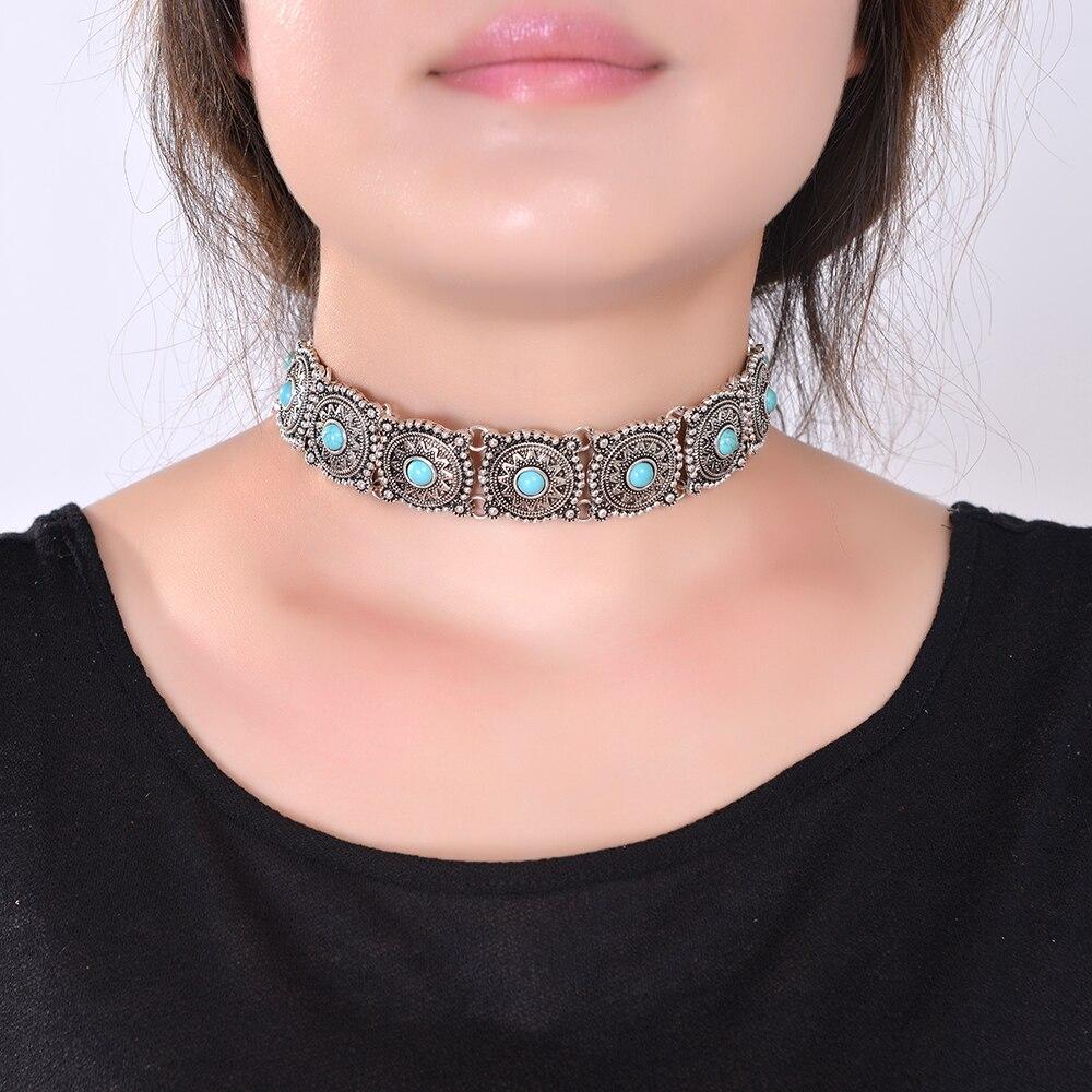 2019 Guler cald Boho Choker Colier de argint bijuterii pentru femei pentru stilFotă vintage stil etnic Boemia real sonteBolds neck