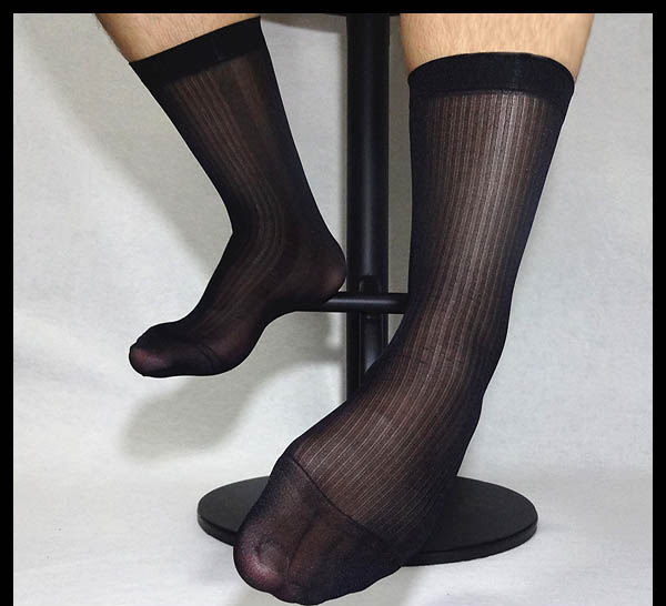 Mens Nylon Silk Socks Sheer Thin Formal Dress socks Sexy Transparent Striped Socks High quality Elastic Socks Black White Navy