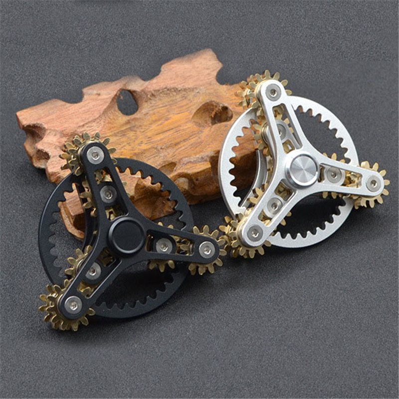 New Gears Fidget Spinner Toys Metal Brass Gear Finger Spinner Metal Hand Spinner EDC Spinning Top Stress Relief For ADHD 4 6 minutes metal fidget spinner classic stress toys eagle retro bronze hand spinner gyro finger torqbar brass edc adult gifs