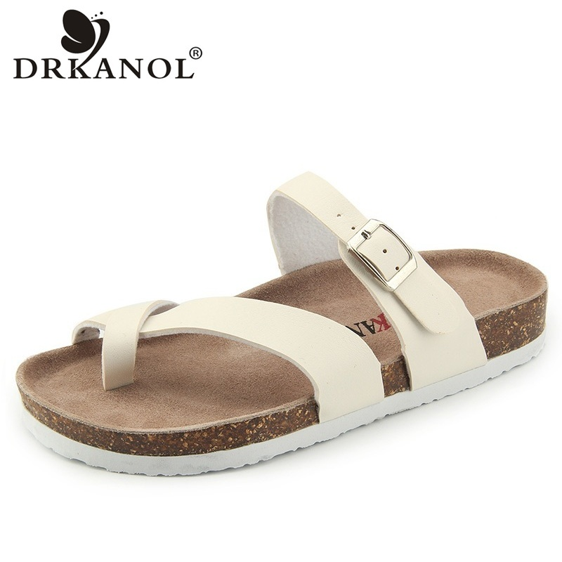 DRKANOL Summer Women Slippers 2018 Fashion Beach Flat Flip Flops Woman Sandals Outside Couple Slides Ladies Cork Casual Shoes 2016 summer patent leather buckle slides for women fashion stone upper flat platform ladies casual beach slippers sandals shoes