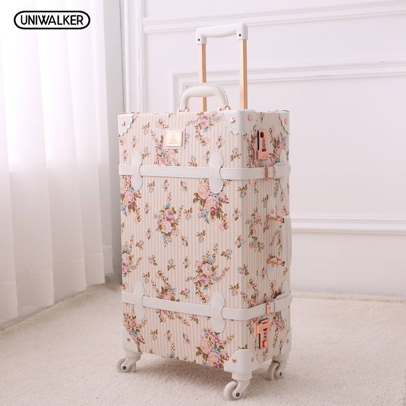 20 - 26 Girl Vintage Floral Trolley Luggage Suitcase, Women Retro Travel Suitcases On Universal Wheels vintage suitcase 20 26 pu leather travel suitcase scratch resistant rolling luggage bags suitcase with tsa lock