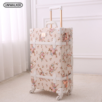 New Design Vintage Trolley Travel Luggage Set Girl Floral Hand Carry On Fashion Classic Retro Luggage Bags Case Travel Suitcase