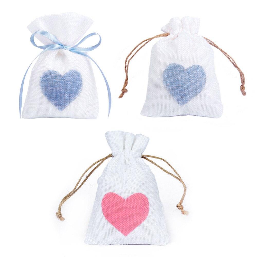 Nice Wedding Gift Ideas: 12pcs/set Love Heart Shaped Wedding Linen Gift Bags
