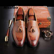 Misalwa Mens British Style Shoes Handmade Weave Formal Wedding Loafers With Tassel Man Dress Shoe Brown Wine Moccasin Party Flat
